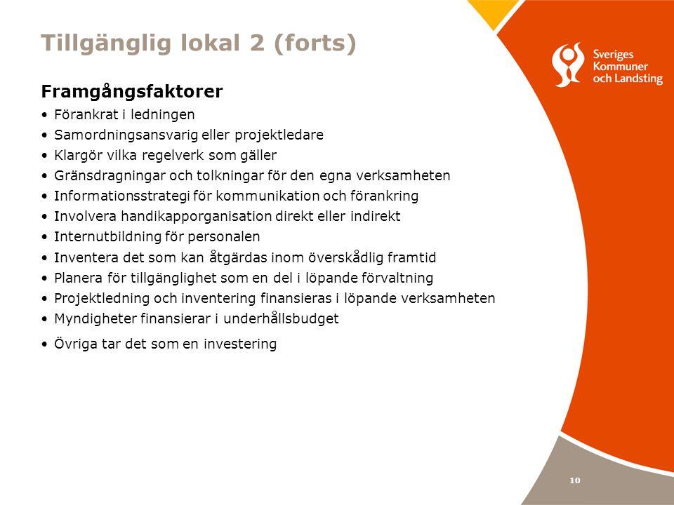 10 Tillgänglig lokal 2 (forts) Framgångsfaktorer Förankrat i ledningen Samordningsansvarig eller projektledare Klargör vilka regelverk som gäller Gränsdragningar och tolkningar för den egna verksamheten Informationsstrategi för kommunikation och förankring Involvera handikapporganisation direkt eller indirekt Internutbildning för personalen Inventera det som kan åtgärdas inom överskådlig framtid Planera för tillgänglighet som en del i löpande förvaltning Projektledning och inventering finansieras i löpande verksamheten Myndigheter finansierar i underhållsbudget Övriga tar det som en investering