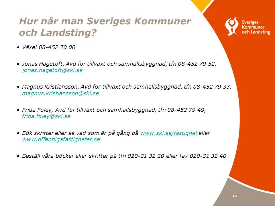 16 Hur når man Sveriges Kommuner och Landsting? Växel 08-452 70 00 Jonas Hagetoft, Avd för tillväxt och samhällsbyggnad, tfn 08-452 79 52, jonas.haget