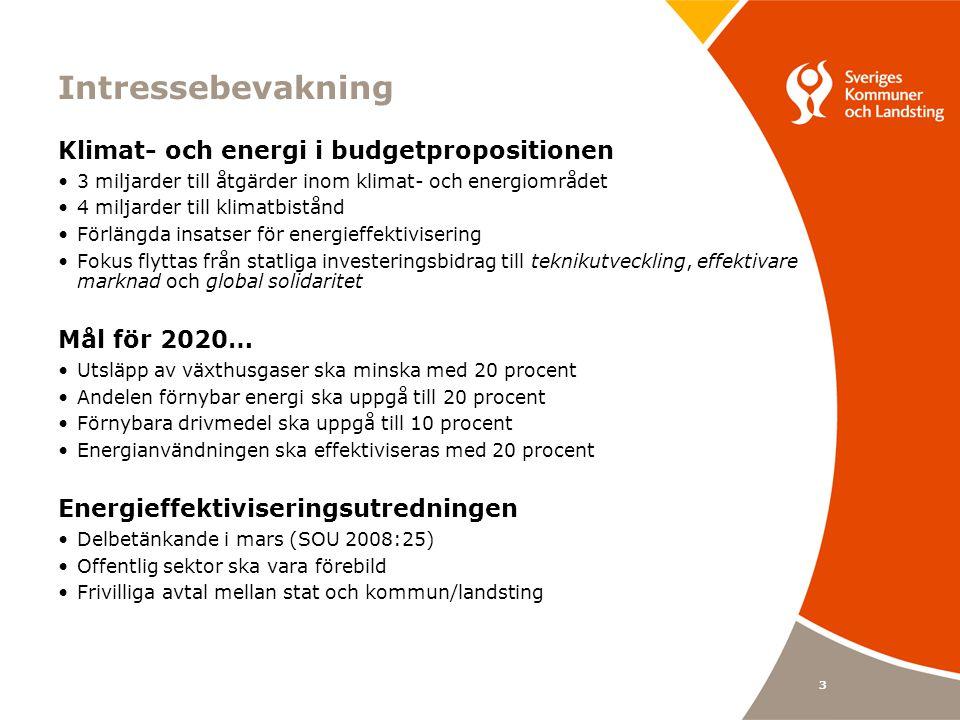 3 Intressebevakning Klimat- och energi i budgetpropositionen 3 miljarder till åtgärder inom klimat- och energiområdet 4 miljarder till klimatbistånd Förlängda insatser för energieffektivisering Fokus flyttas från statliga investeringsbidrag till teknikutveckling, effektivare marknad och global solidaritet Mål för 2020… Utsläpp av växthusgaser ska minska med 20 procent Andelen förnybar energi ska uppgå till 20 procent Förnybara drivmedel ska uppgå till 10 procent Energianvändningen ska effektiviseras med 20 procent Energieffektiviseringsutredningen Delbetänkande i mars (SOU 2008:25) Offentlig sektor ska vara förebild Frivilliga avtal mellan stat och kommun/landsting