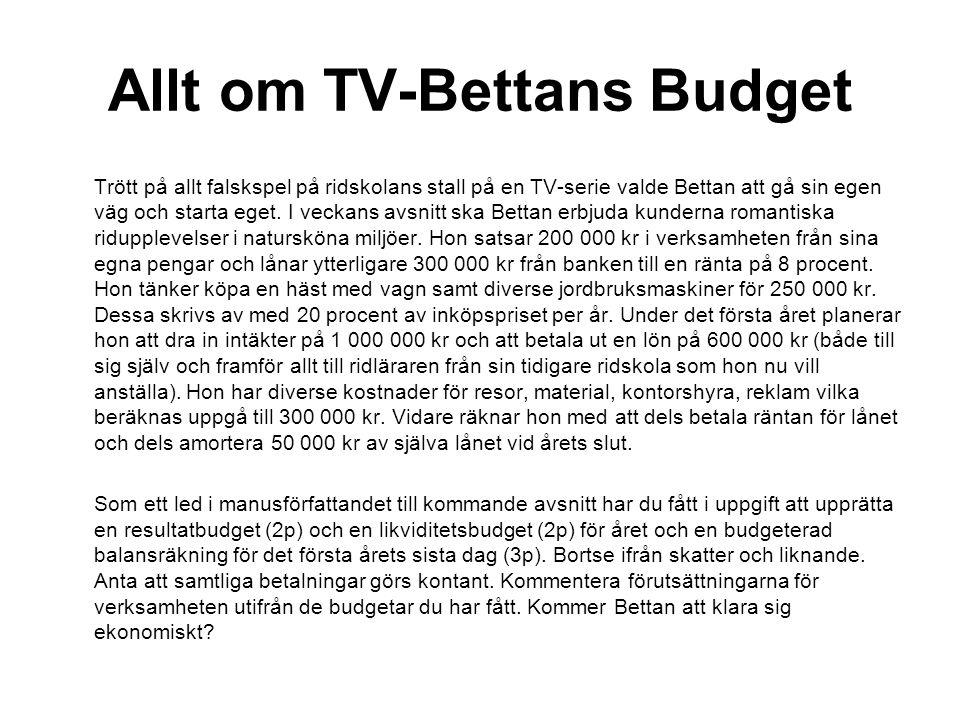 Allt om TV-Bettans Budget Trött på allt falskspel på ridskolans stall på en TV-serie valde Bettan att gå sin egen väg och starta eget. I veckans avsni
