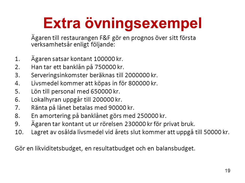 19 Extra övningsexempel Ägaren till restaurangen F&F gör en prognos över sitt första verksamhetsår enligt följande: 1.Ägaren satsar kontant 100000 kr.