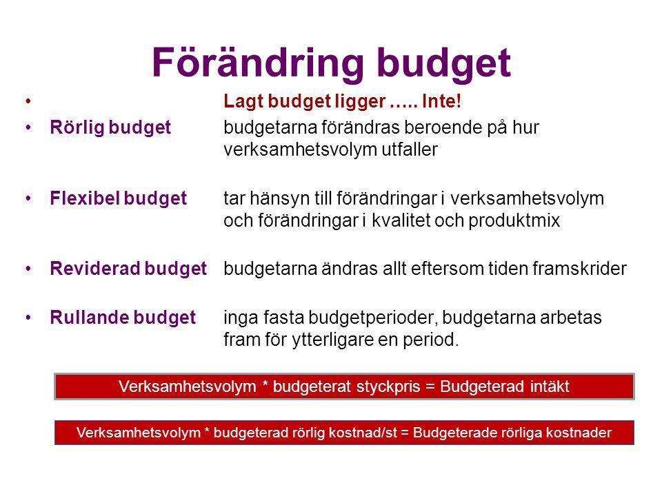 Förändring budget Lagt budget ligger ….. Inte! Rörlig budgetbudgetarna förändras beroende på hur verksamhetsvolym utfaller Flexibel budgettar hänsyn t