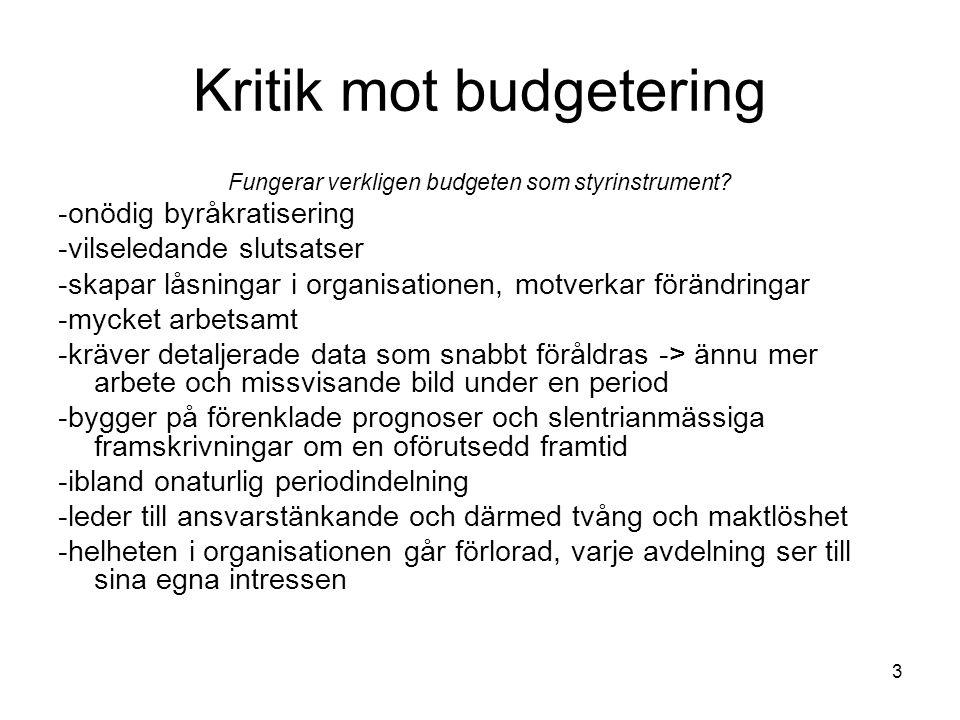 Kritik mot budgetering Fungerar verkligen budgeten som styrinstrument? -onödig byråkratisering -vilseledande slutsatser -skapar låsningar i organisati