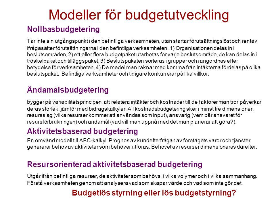 Modeller för budgetutveckling Nollbasbudgetering Tar inte sin utgångspunkt i den befintliga verksamheten, utan startar förutsättningslöst och rentav i