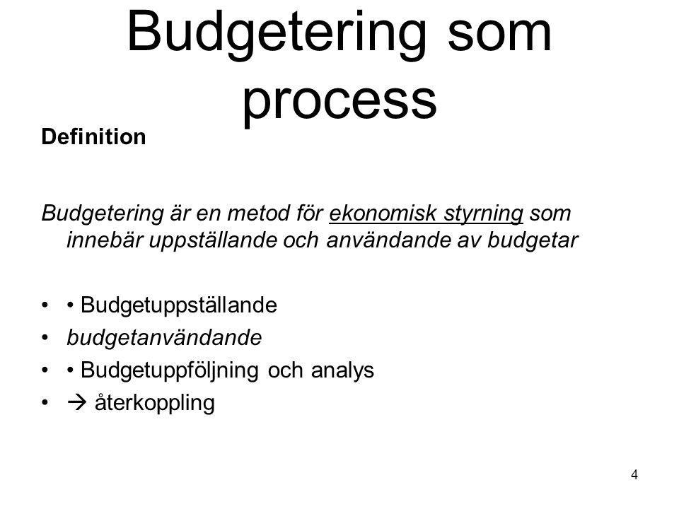 4 Budgetering som process Definition Budgetering är en metod för ekonomisk styrning som innebär uppställande och användande av budgetar Budgetuppställ