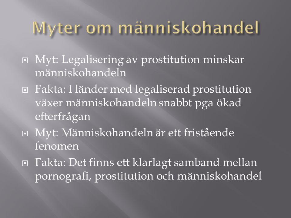  Myt: Legalisering av prostitution minskar människohandeln  Fakta: I länder med legaliserad prostitution växer människohandeln snabbt pga ökad efterfrågan  Myt: Människohandeln är ett fristående fenomen  Fakta: Det finns ett klarlagt samband mellan pornografi, prostitution och människohandel