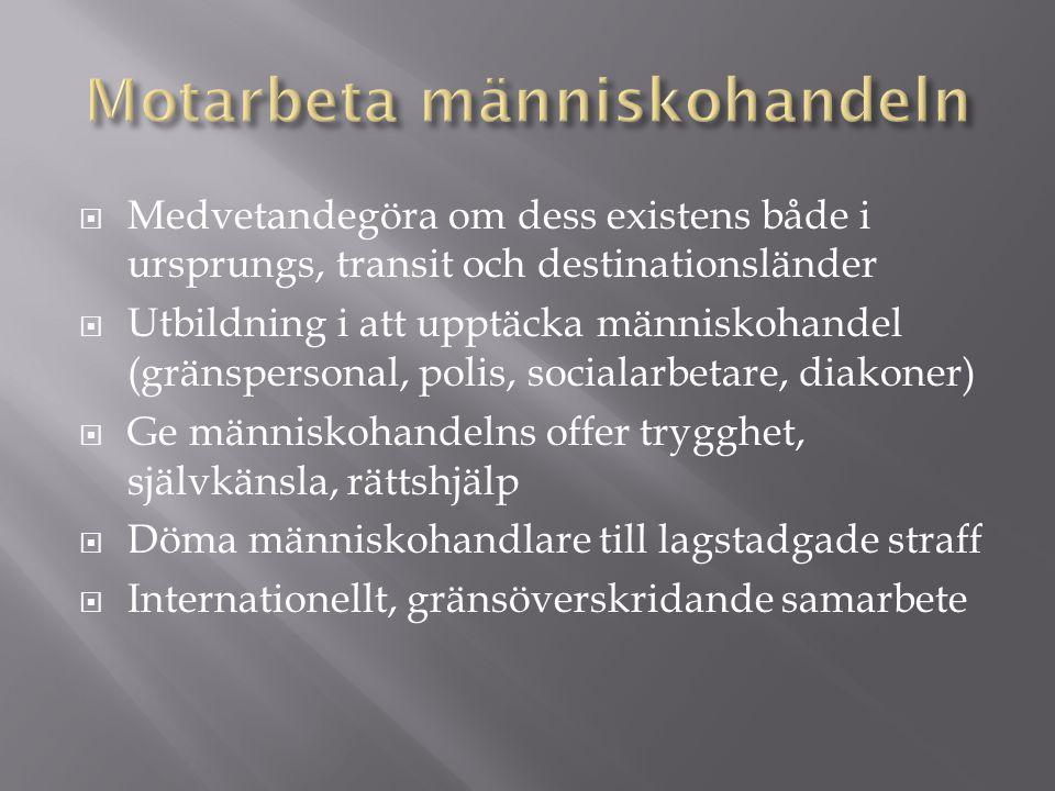  Medvetandegöra om dess existens både i ursprungs, transit och destinationsländer  Utbildning i att upptäcka människohandel (gränspersonal, polis, socialarbetare, diakoner)  Ge människohandelns offer trygghet, självkänsla, rättshjälp  Döma människohandlare till lagstadgade straff  Internationellt, gränsöverskridande samarbete