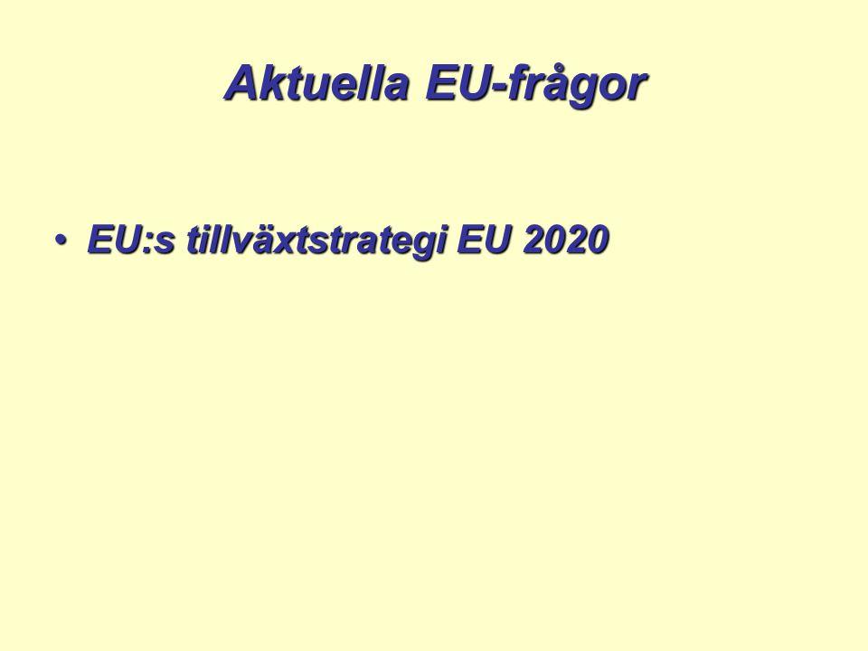 Aktuella EU-frågor EU:s tillväxtstrategi EU 2020EU:s tillväxtstrategi EU 2020