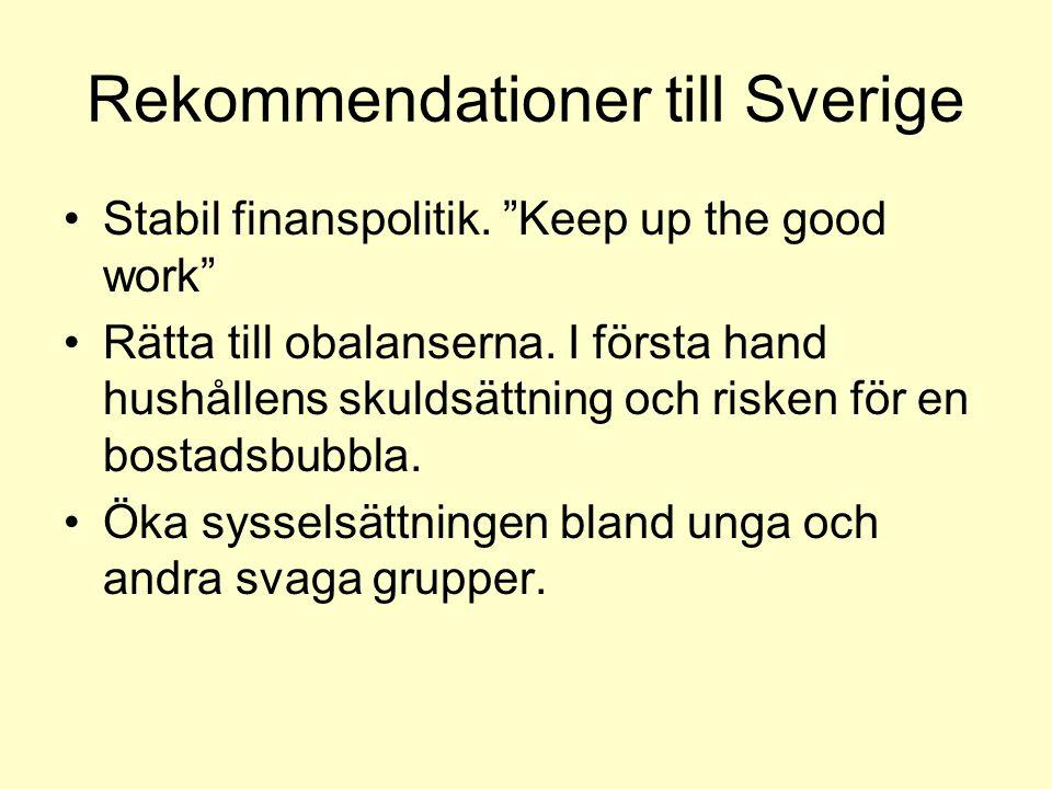 Rekommendationer till Sverige Stabil finanspolitik.