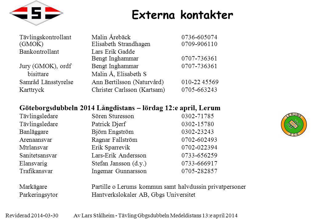 Reviderad 2014-03-30Av Lars Stålheim - Tävling Gbgsdubbeln Medeldistans 13:e april 2014 Externa kontakter TävlingskontrollantMalin Årebäck 0736-605074