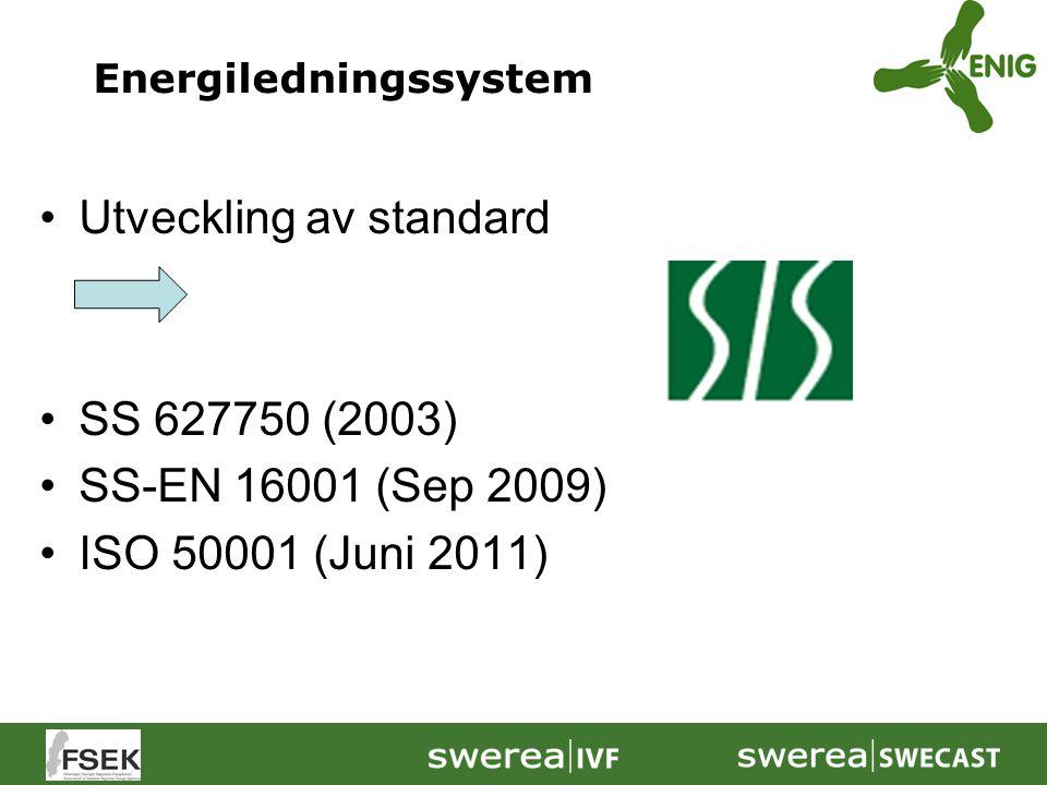 Utveckling av standard SS 627750 (2003) SS-EN 16001 (Sep 2009) ISO 50001 (Juni 2011) Energiledningssystem