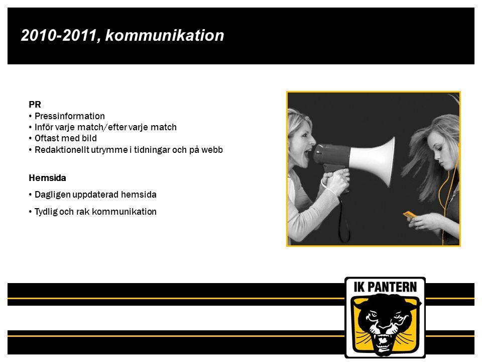 2010-2011, kommunikation PR Pressinformation Inför varje match/efter varje match Oftast med bild Redaktionellt utrymme i tidningar och på webb Hemsida