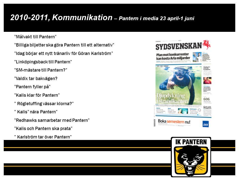 """2010-2011, Kommunikation – Pantern i media 23 april-1 juni Pantern i media 23 april – 1 juni """"Målvakt till Pantern"""" """"Billiga biljetter ska göra Panter"""