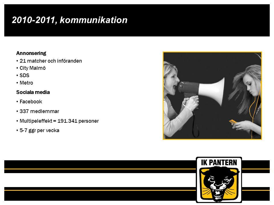 2010-2011, kommunikation Annonsering 21 matcher och införanden City Malmö SDS Metro Sociala media Facebook 337 medlemmar Multipeleffekt = 191.341 pers