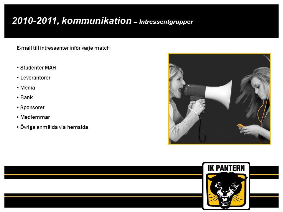 2010-2011, kommunikation – Intressentgrupper E-mail till intressenter inför varje match Studenter MAH Leverantörer Media Bank Sponsorer Medlemmar Övri