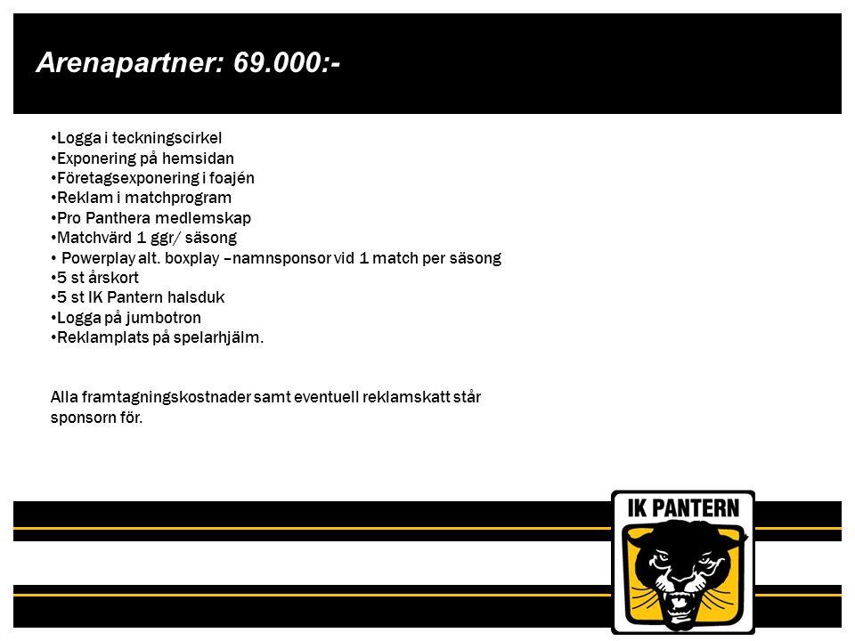Arenapartner: 69.000:- Logga i teckningscirkel Exponering på hemsidan Företagsexponering i foajén Reklam i matchprogram Pro Panthera medlemskap Matchv