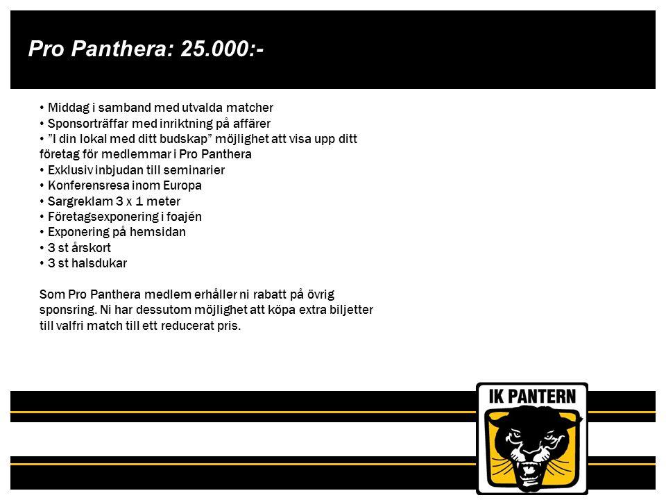 """Pro Panthera: 25.000:- Middag i samband med utvalda matcher Sponsorträffar med inriktning på affärer """"I din lokal med ditt budskap"""" möjlighet att visa"""