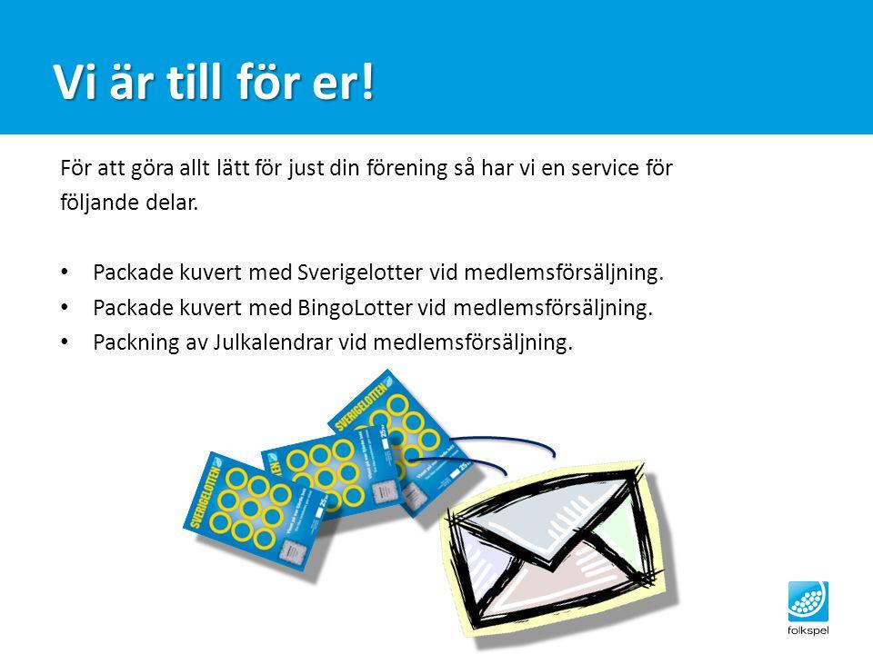 För att göra allt lätt för just din förening så har vi en service för följande delar. Packade kuvert med Sverigelotter vid medlemsförsäljning. Packade