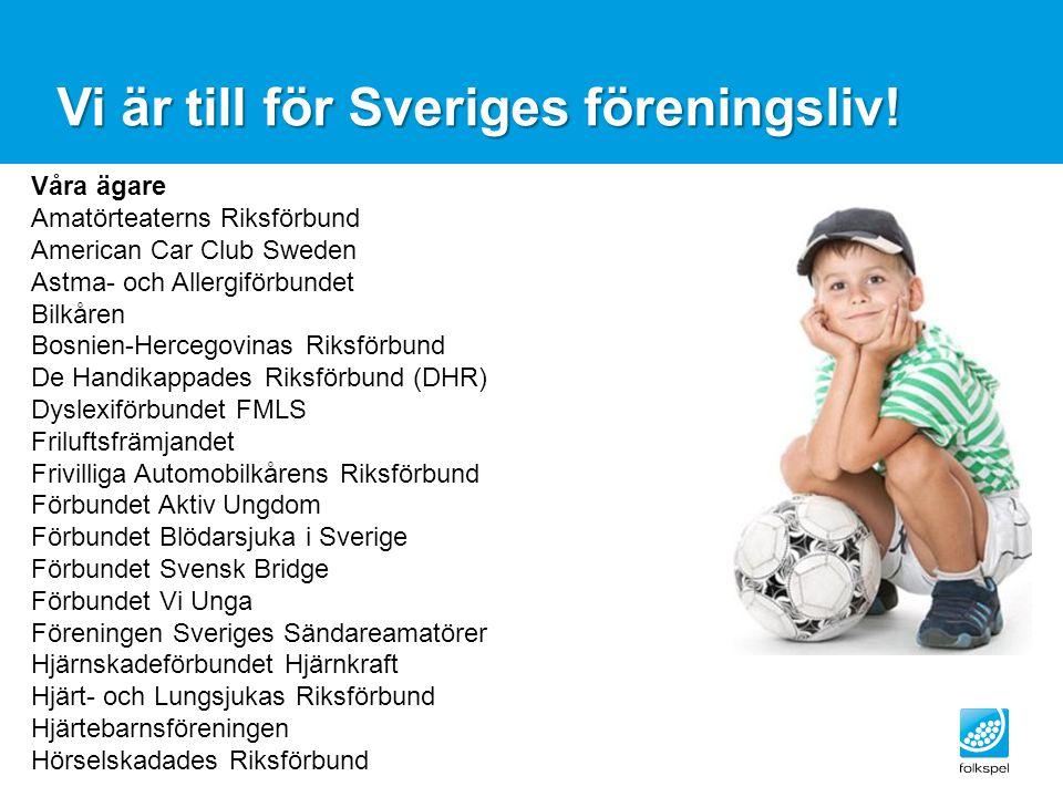Vi är till för Sveriges föreningsliv! Våra ägare Amatörteaterns Riksförbund American Car Club Sweden Astma- och Allergiförbundet Bilkåren Bosnien-Herc