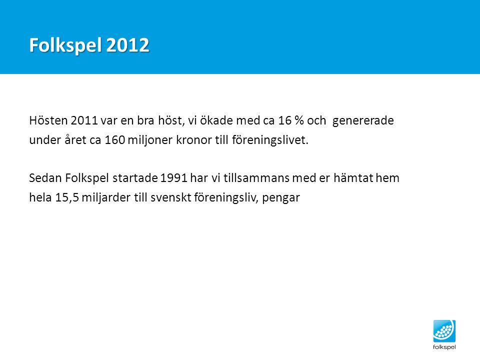 Folkspel 2012 Hösten 2011 var en bra höst, vi ökade med ca 16 % och genererade under året ca 160 miljoner kronor till föreningslivet. Sedan Folkspel s