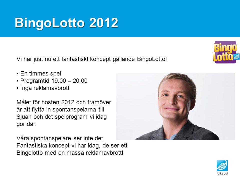 BingoLotto 2012 Vi har just nu ett fantastiskt koncept gällande BingoLotto! En timmes spel Programtid 19.00 – 20.00 Inga reklamavbrott Målet för höste
