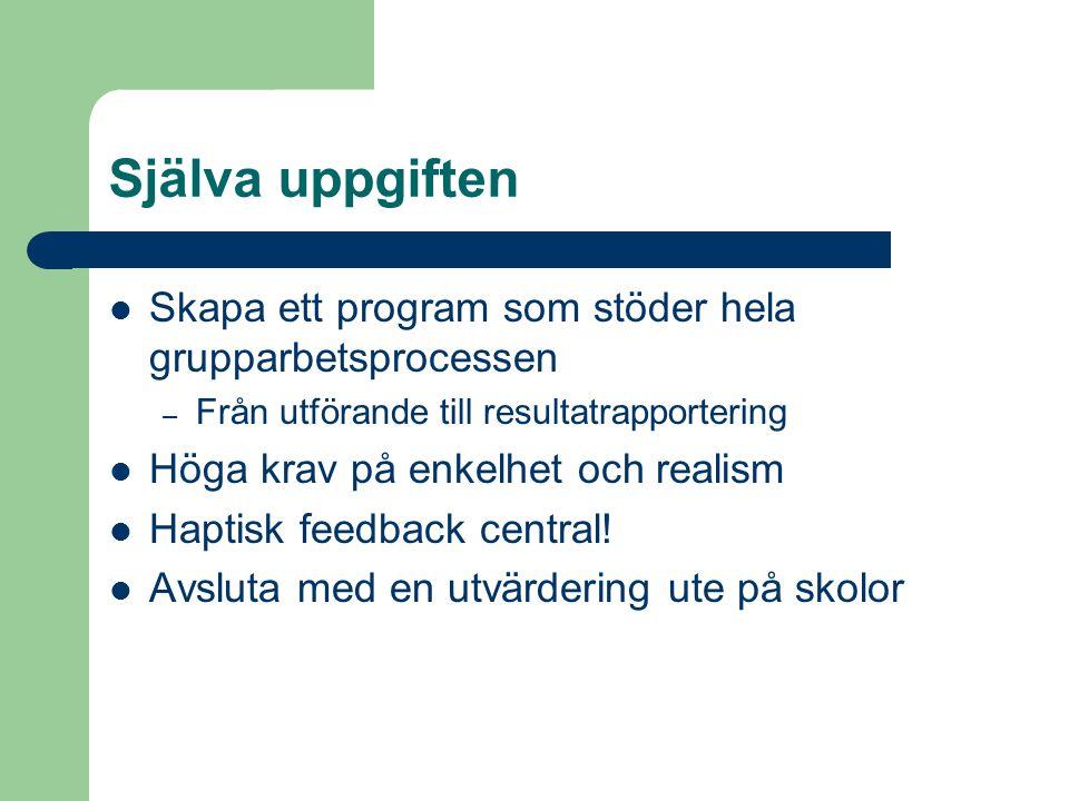 Själva uppgiften Skapa ett program som stöder hela grupparbetsprocessen – Från utförande till resultatrapportering Höga krav på enkelhet och realism Haptisk feedback central.