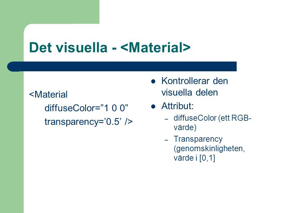 Det visuella - <Material diffuseColor= 1 0 0 transparency='0.5' /> Kontrollerar den visuella delen Attribut: – diffuseColor (ett RGB- värde) – Transparency (genomskinligheten, värde i [0,1]