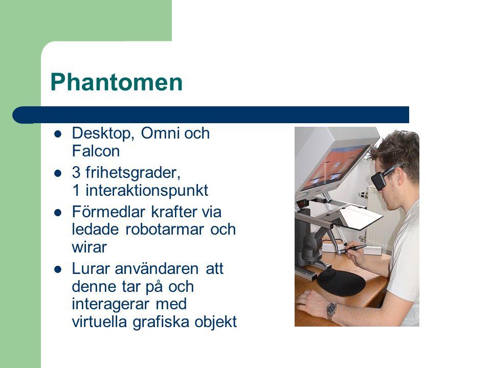 Phantomen Desktop, Omni och Falcon 3 frihetsgrader, 1 interaktionspunkt Förmedlar krafter via ledade robotarmar och wirar Lurar användaren att denne tar på och interagerar med virtuella grafiska objekt