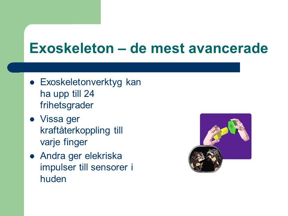 Exoskeleton – de mest avancerade Exoskeletonverktyg kan ha upp till 24 frihetsgrader Vissa ger kraftåterkoppling till varje finger Andra ger elekriska impulser till sensorer i huden
