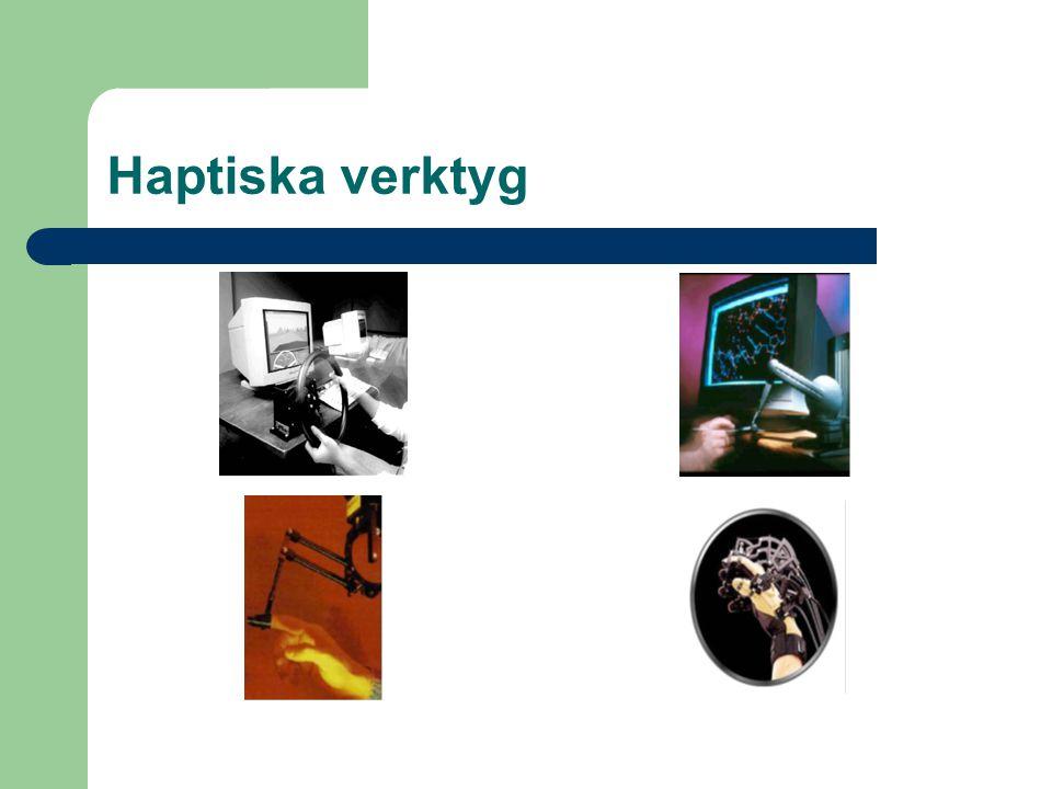 Resultat från andra studier Haptiken ger en större upplevd närvarokänsla Haptiken ger en större upplevd social närvarokänsla Haptiken påverkar dialogen Man kan tala om haptisk kommunikation Även seende kan hjälpas av haptiken