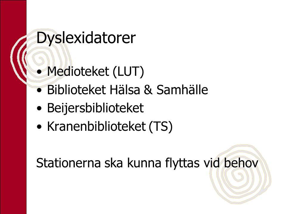 Dyslexidatorer Medioteket (LUT) Biblioteket Hälsa & Samhälle Beijersbiblioteket Kranenbiblioteket (TS) Stationerna ska kunna flyttas vid behov
