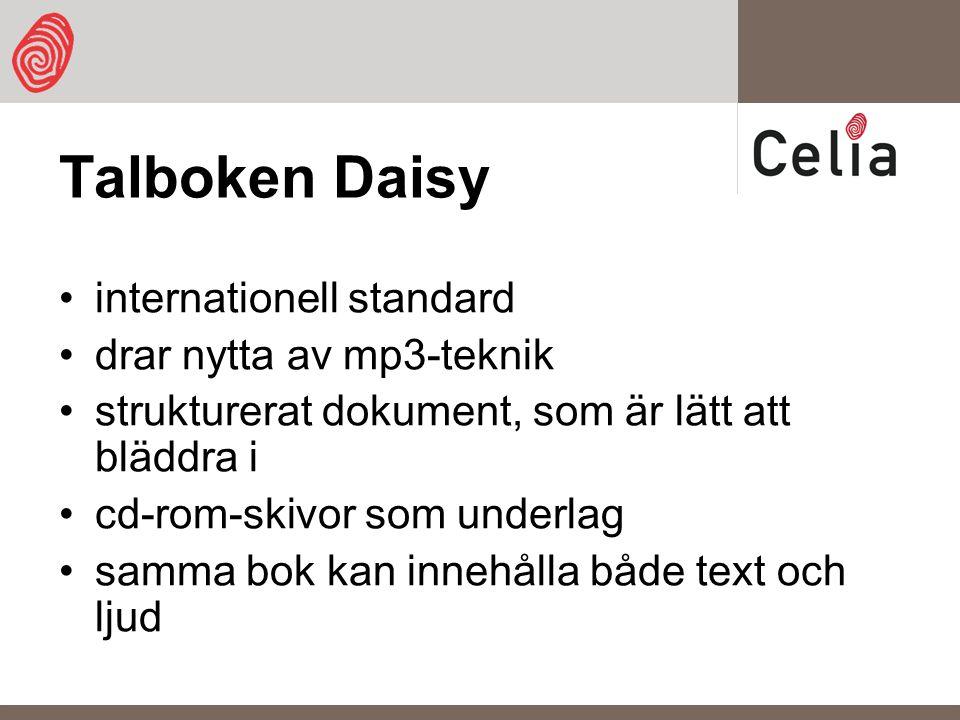 Talboken Daisy internationell standard drar nytta av mp3-teknik strukturerat dokument, som är lätt att bläddra i cd-rom-skivor som underlag samma bok kan innehålla både text och ljud
