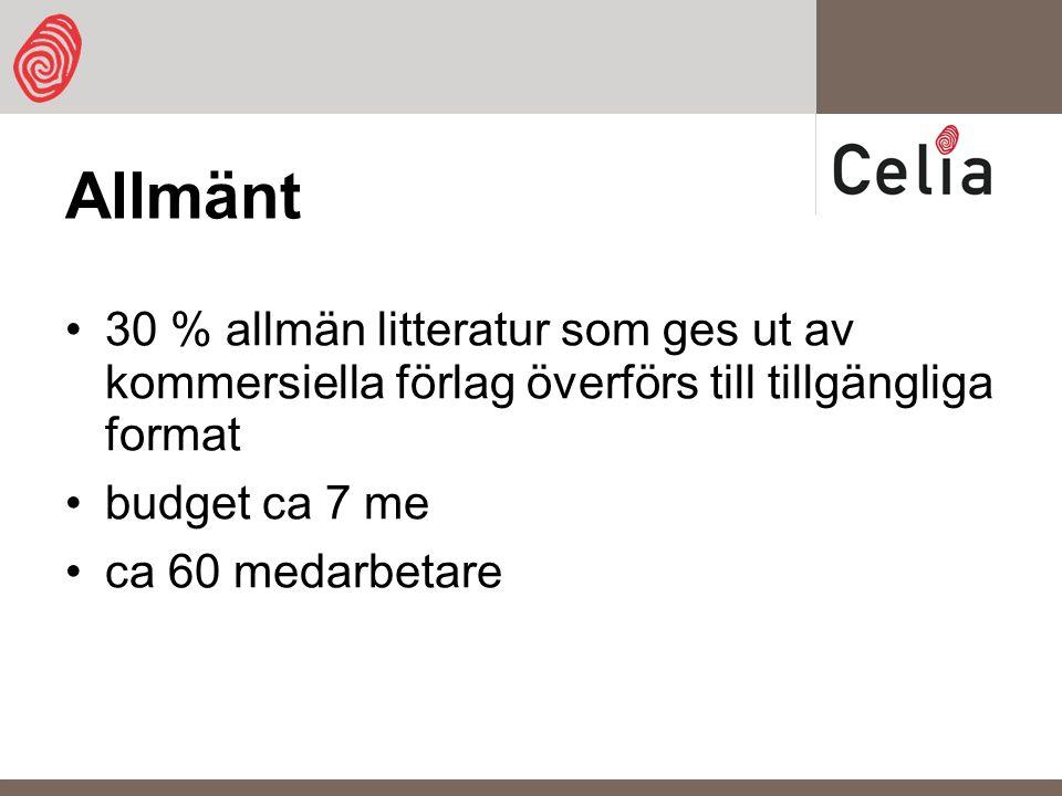 Allmänt 30 % allmän litteratur som ges ut av kommersiella förlag överförs till tillgängliga format budget ca 7 me ca 60 medarbetare