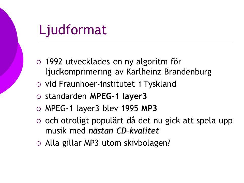 Ljudformat  1992 utvecklades en ny algoritm för ljudkomprimering av Karlheinz Brandenburg  vid Fraunhoer-institutet i Tyskland  standarden MPEG-1 layer3  MPEG-1 layer3 blev 1995 MP3 nästan CD-kvalitet  och otroligt populärt då det nu gick att spela upp musik med nästan CD-kvalitet  Alla gillar MP3 utom skivbolagen