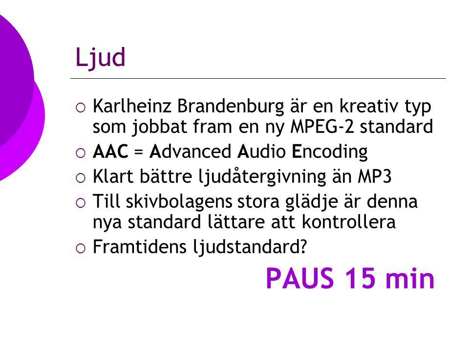 Ljud  Karlheinz Brandenburg är en kreativ typ som jobbat fram en ny MPEG-2 standard  AAC = Advanced Audio Encoding  Klart bättre ljudåtergivning än MP3  Till skivbolagens stora glädje är denna nya standard lättare att kontrollera  Framtidens ljudstandard.
