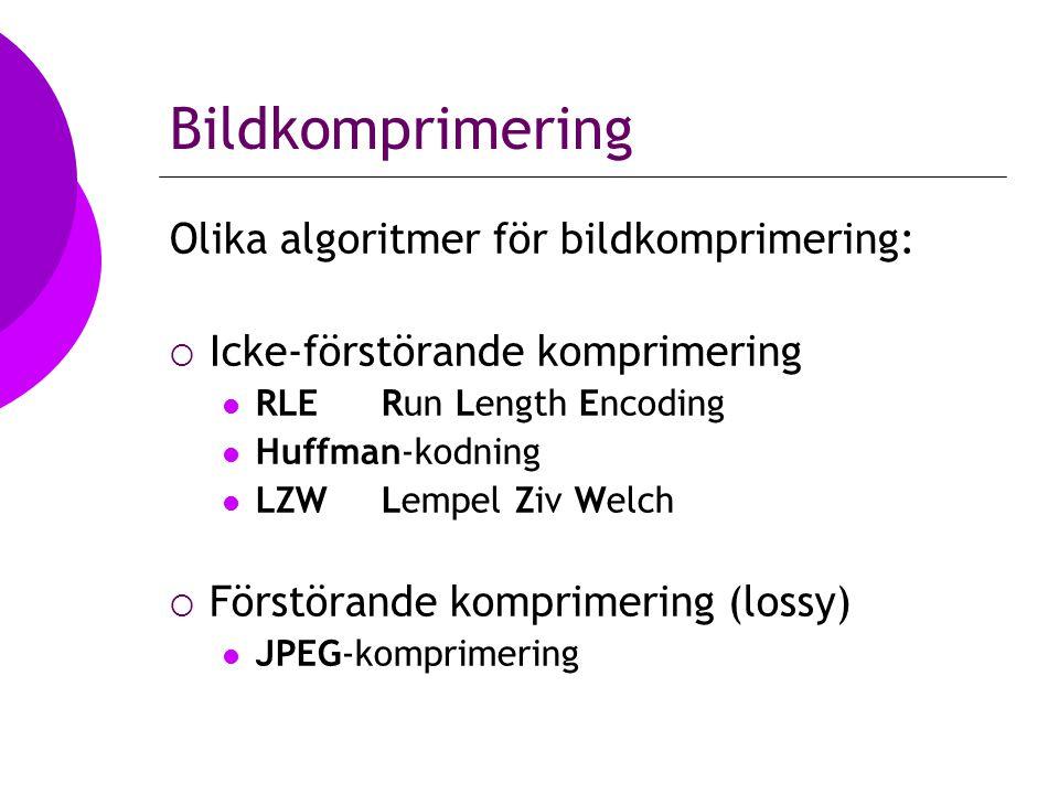 Run Length Encoding  I en bitmappad bild är färgen på varje enskild pixel representerad med ett visst bitmönster  Om detta bitmönster upprepar sig t ex 224 ggr så kan en RLE-kodning ske enligt: 11001000 (x) 11100000  Detta minskar i princip storleken från 224 bytes till 2 bytes