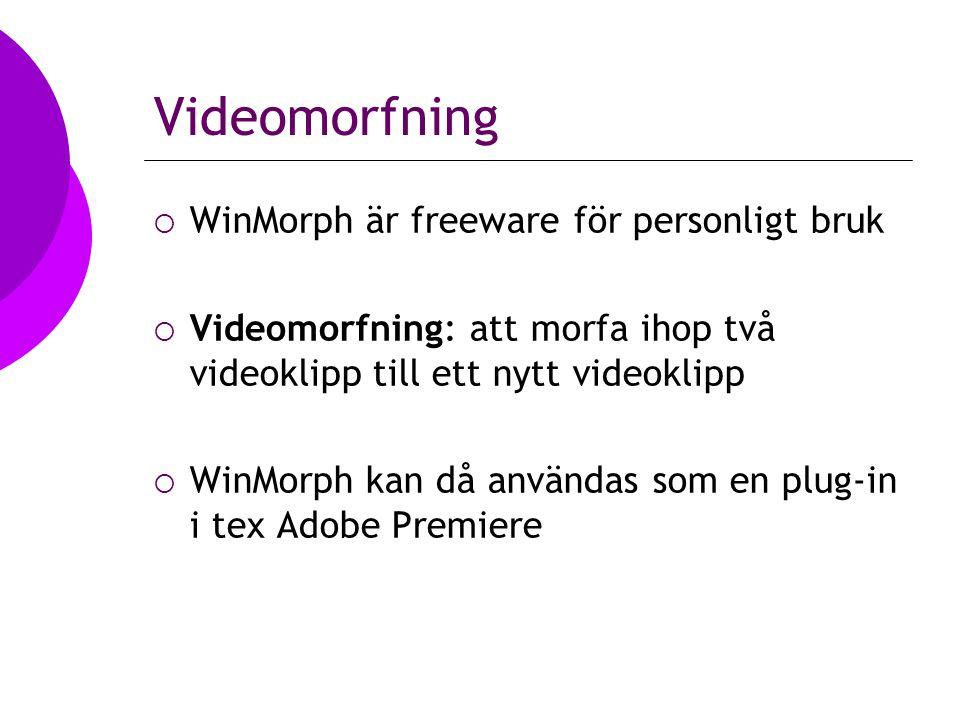 Videomorfning  WinMorph är freeware för personligt bruk  Videomorfning: att morfa ihop två videoklipp till ett nytt videoklipp  WinMorph kan då användas som en plug-in i tex Adobe Premiere