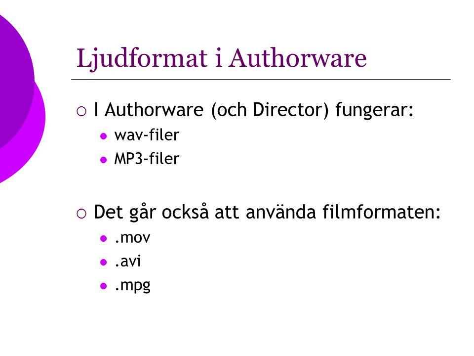 Ljudformat i Authorware  I Authorware (och Director) fungerar: wav-filer MP3-filer  Det går också att använda filmformaten:.mov.avi.mpg