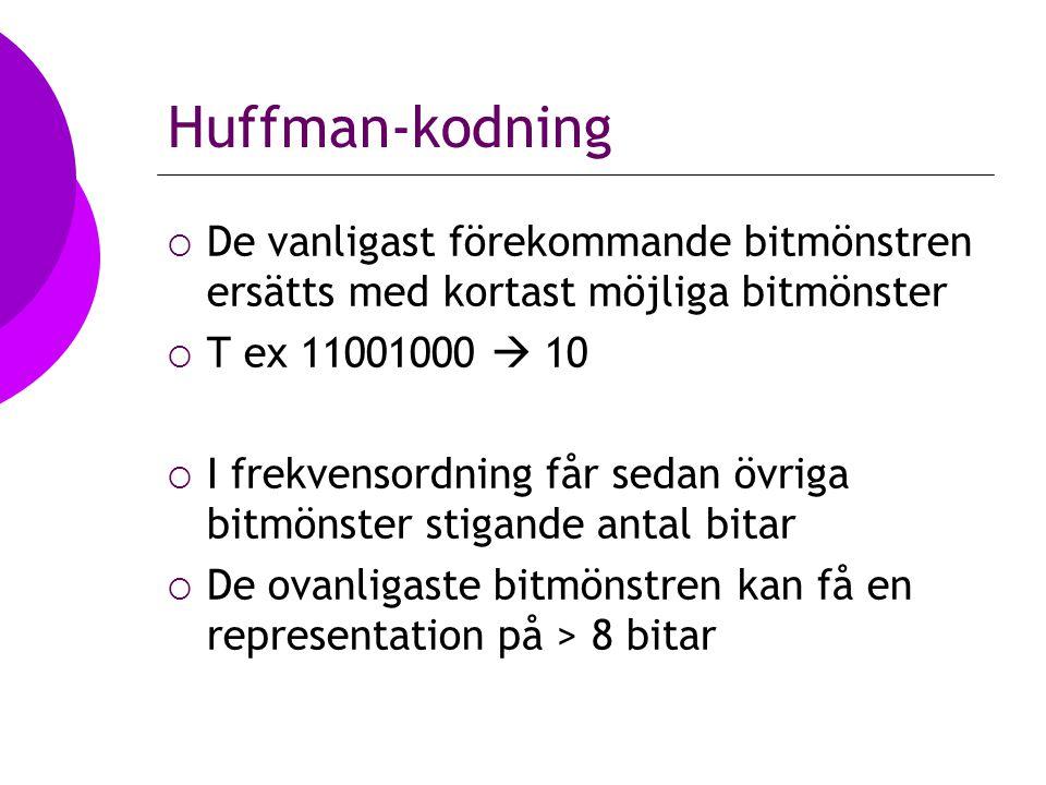 Huffman-kodning  De vanligast förekommande bitmönstren ersätts med kortast möjliga bitmönster  T ex 11001000  10  I frekvensordning får sedan övriga bitmönster stigande antal bitar  De ovanligaste bitmönstren kan få en representation på > 8 bitar