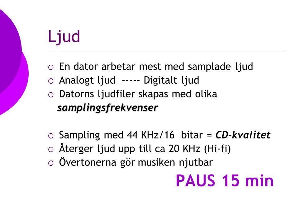 Ljud  En dator arbetar mest med samplade ljud  Analogt ljud ----- Digitalt ljud  Datorns ljudfiler skapas med olika samplingsfrekvenser samplingsfrekvenser  Sampling med 44 KHz/16 bitar = CD-kvalitet  Återger ljud upp till ca 20 KHz (Hi-fi)  Övertonerna gör musiken njutbar PAUS 15 min