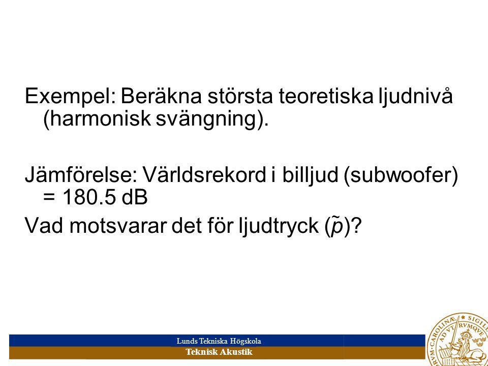 Lunds Tekniska Högskola Teknisk Akustik Exempel: Beräkna största teoretiska ljudnivå (harmonisk svängning). Jämförelse: Världsrekord i billjud (subwoo