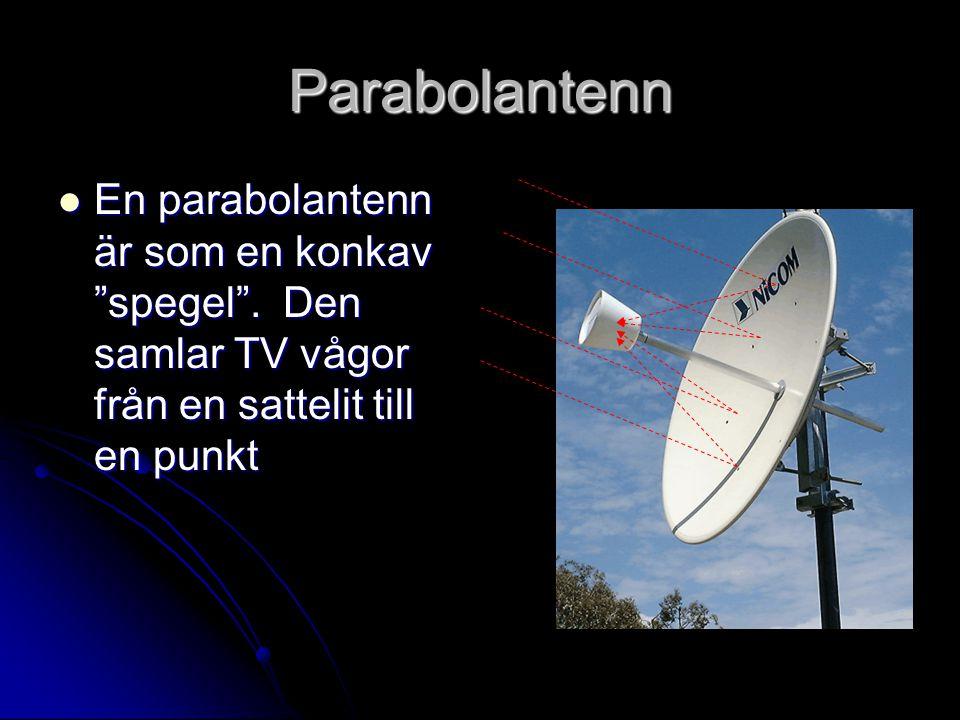"""Parabolantenn En parabolantenn är som en konkav """"spegel"""". Den samlar TV vågor från en sattelit till en punkt En parabolantenn är som en konkav """"spegel"""