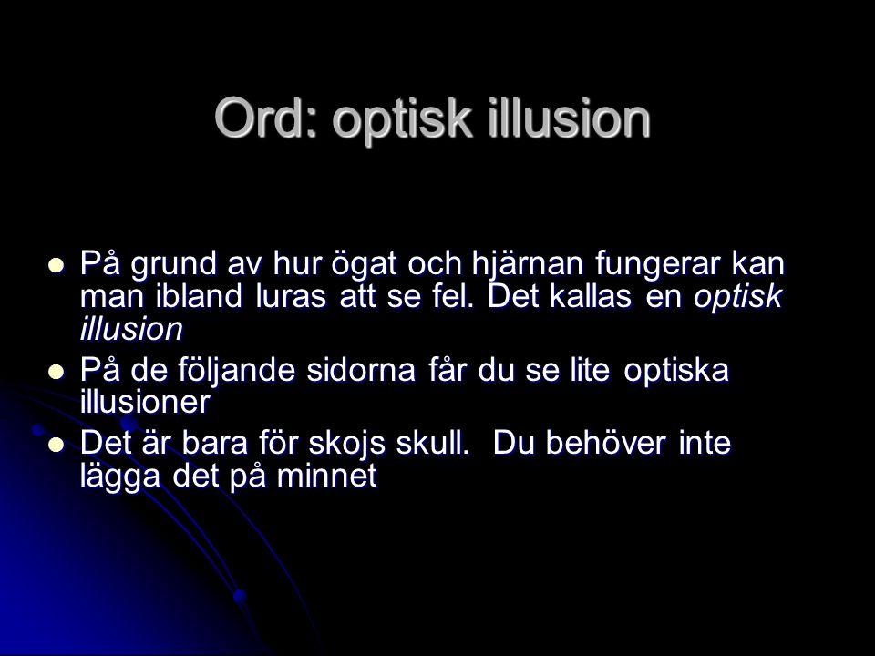 Ord: optisk illusion På grund av hur ögat och hjärnan fungerar kan man ibland luras att se fel. Det kallas en optisk illusion På grund av hur ögat och