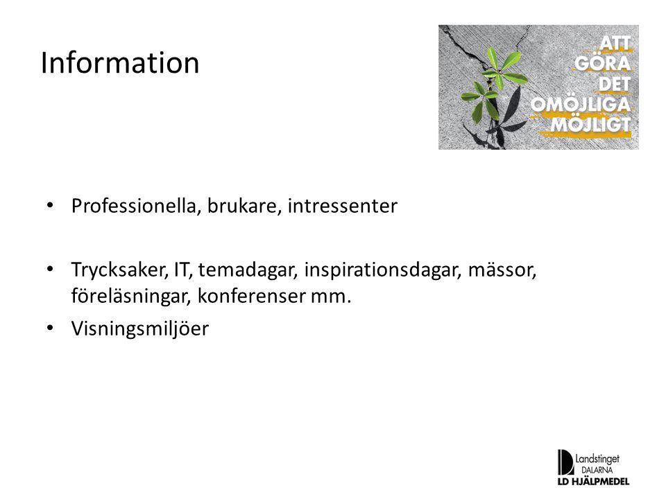 Information Professionella, brukare, intressenter Trycksaker, IT, temadagar, inspirationsdagar, mässor, föreläsningar, konferenser mm. Visningsmiljöer