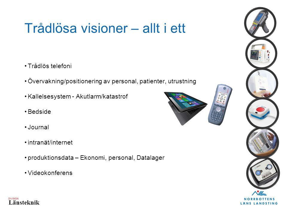 DIVISION Länsteknik Trådlösa visioner – allt i ett Trådlös telefoni Övervakning/positionering av personal, patienter, utrustning Kallelsesystem - Akut