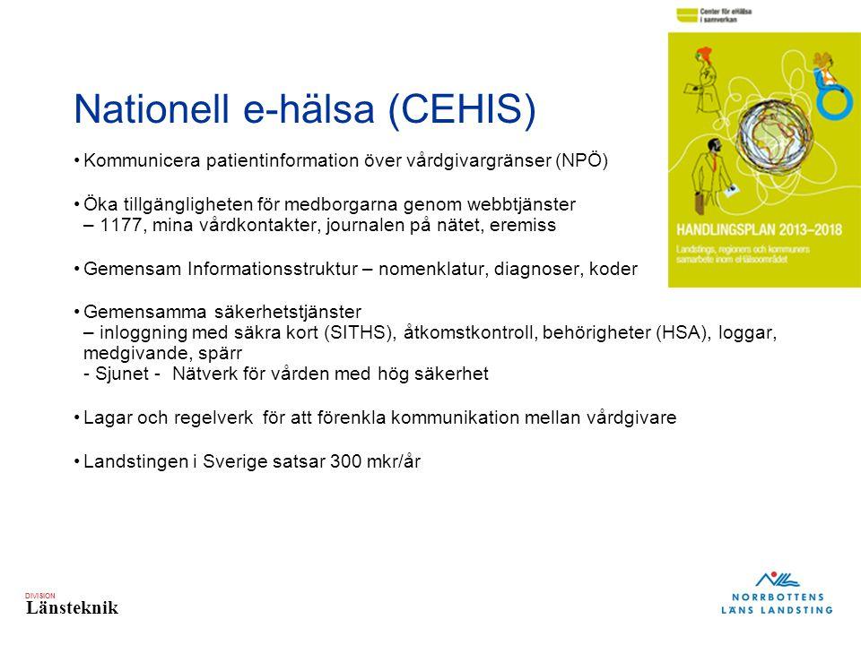 DIVISION Länsteknik Nationell e-hälsa (CEHIS) Kommunicera patientinformation över vårdgivargränser (NPÖ) Öka tillgängligheten för medborgarna genom we