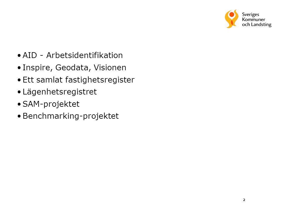 2 AID - Arbetsidentifikation Inspire, Geodata, Visionen Ett samlat fastighetsregister Lägenhetsregistret SAM-projektet Benchmarking-projektet