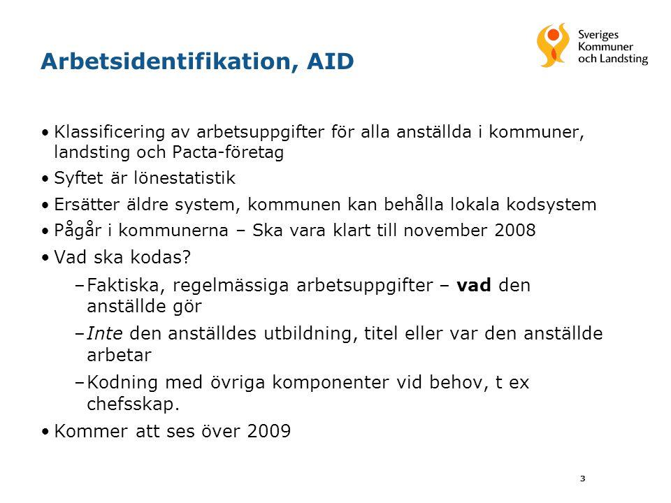 3 Arbetsidentifikation, AID Klassificering av arbetsuppgifter för alla anställda i kommuner, landsting och Pacta-företag Syftet är lönestatistik Ersät