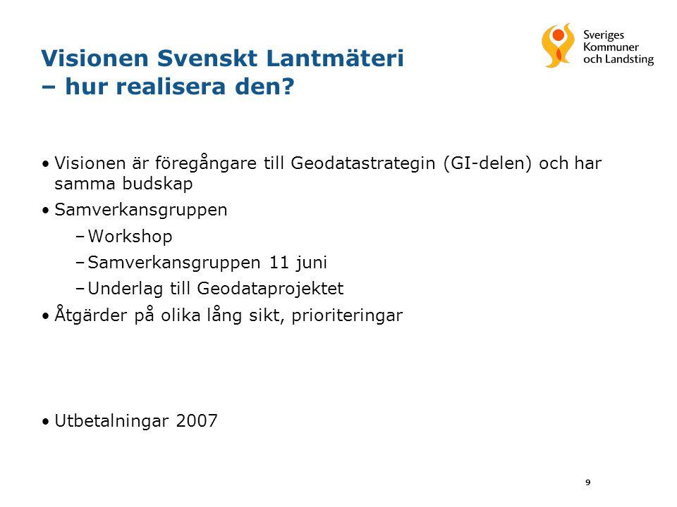 9 Visionen Svenskt Lantmäteri – hur realisera den? Visionen är föregångare till Geodatastrategin (GI-delen) och har samma budskap Samverkansgruppen –W