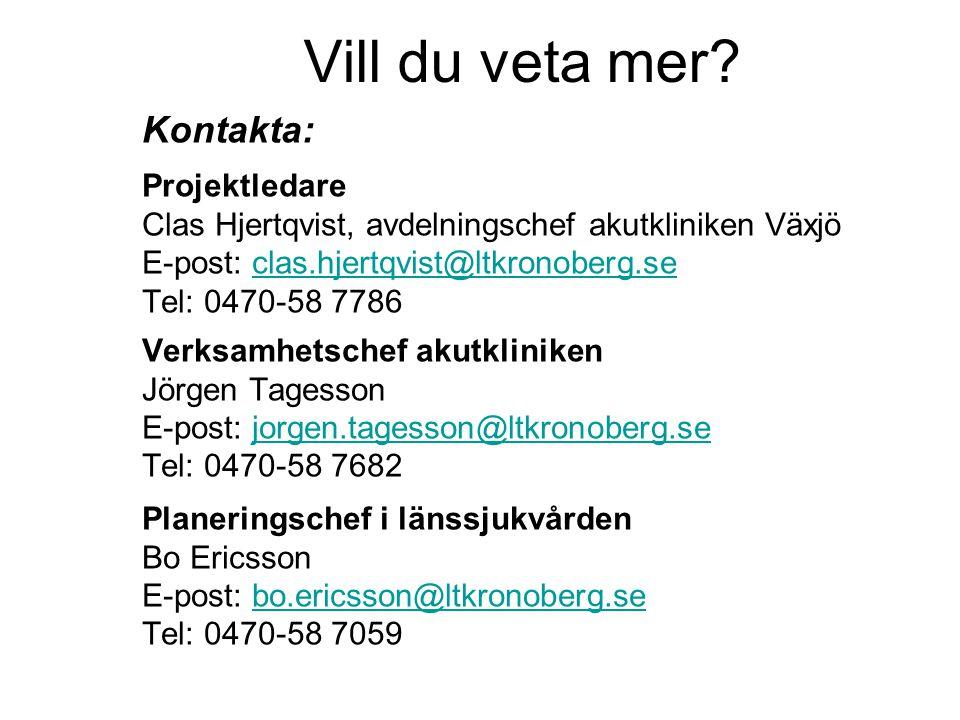 Vill du veta mer? Kontakta: Projektledare Clas Hjertqvist, avdelningschef akutkliniken Växjö E-post: clas.hjertqvist@ltkronoberg.seclas.hjertqvist@ltk